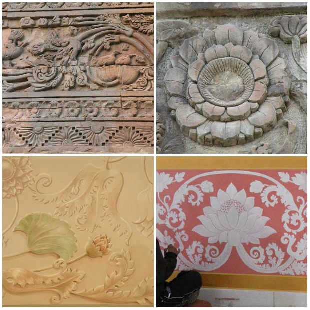 Sacred Mural Inspirations drawn from Stone Relief Work at Dhamek Stupa in Sarnath, India