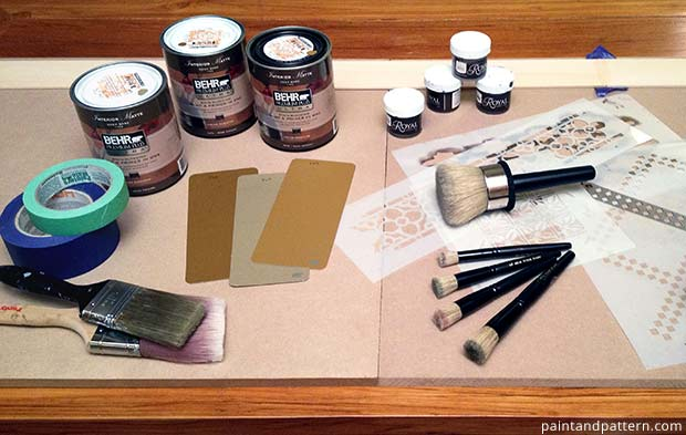 India stencils and stencil supplies for stenciled closet makeover on Paint + Pattern