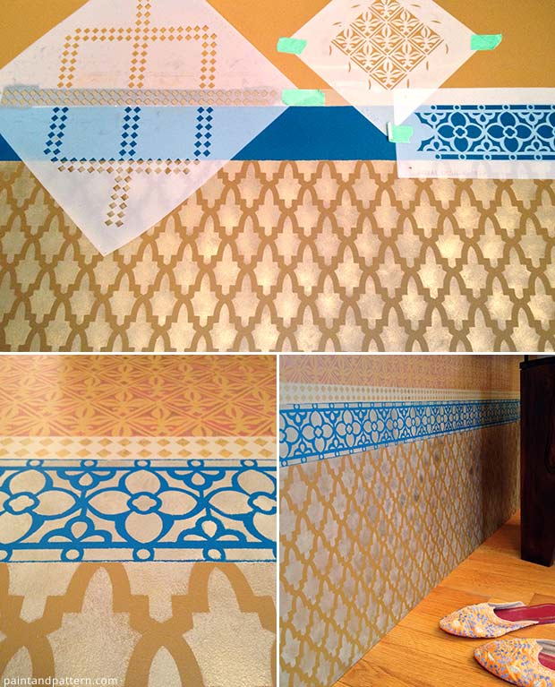 Stenciling with stencil patterns from Royal Design Studio