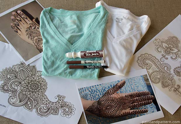 Supplies ot make DIY Henna inspired tee shirts using Tee Juice Pens