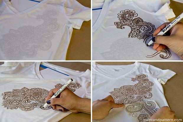 DIY Henna inspired tee shirts using Tee Juice Pens