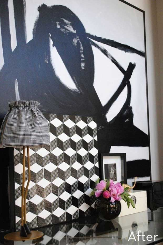 Geometric Wall Art with Washi Tape via Paint+Pattern