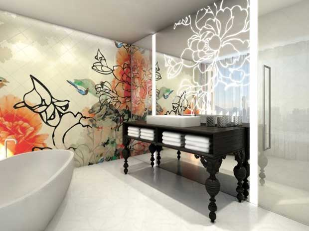 Bisazza mosaic tiles and lighted patterned mirrors at Mira Moon Hotel in Hong Kong | Paint + Pattern