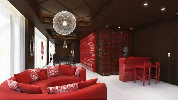 A large suite with a moon-inspired light fixture and stylized patterns at Mira Moon Hotel in Hong Kong | Paint + Pattern