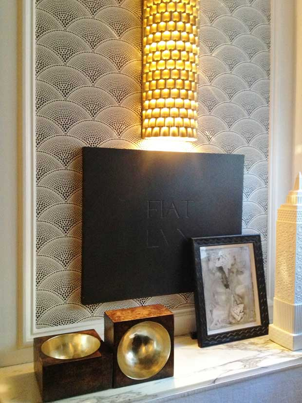Scallops trend in interiors via Cole & Son feather fan wallpaper | Paint + Pattern