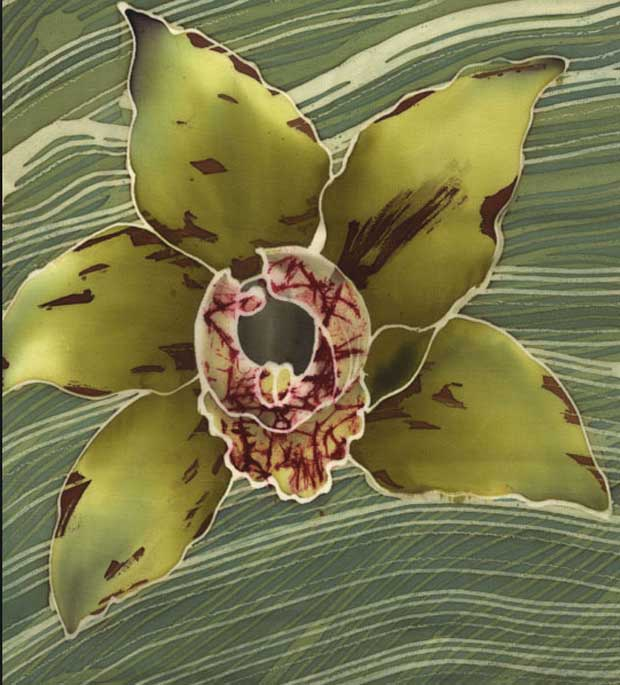 Serti silk Orchid painting via Paint+Pattern