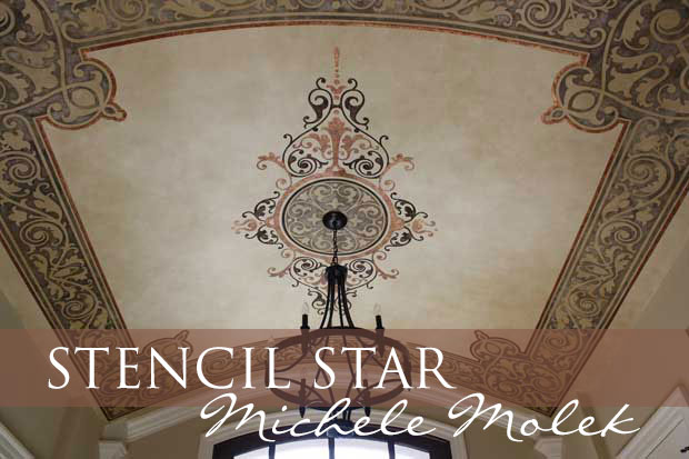 Michele Molek's Decorative Ceiling Art using Moello Design's Alhambra-B-CC138A via Paint + Pattern