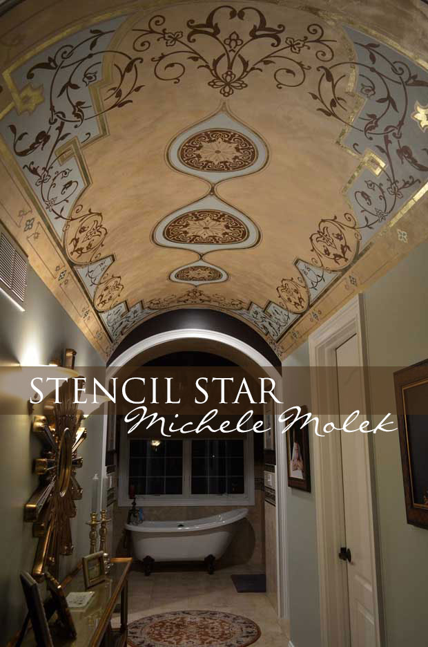 Stenciled barrel ceiling by decorative artist Michele Molek using stencils by Modello Designs | Paint + Pattern