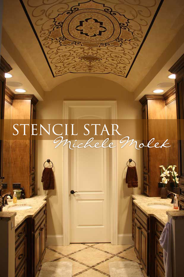 Stenciled ceiling finishes by Michele Molek using stencils by Modello Designs | Paint + Pattern