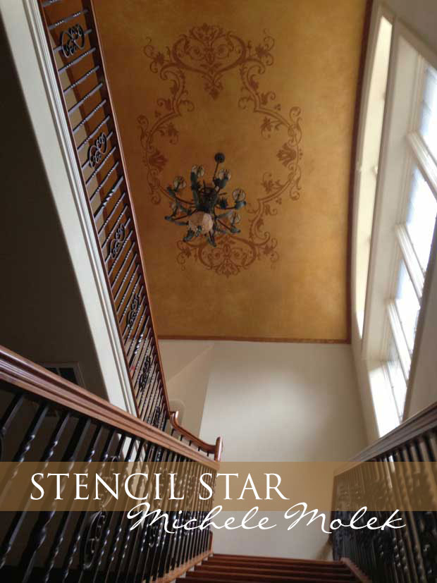 Michele Molek's decorative ceiling art using stencils by Modello Designs | Paint + Pattern