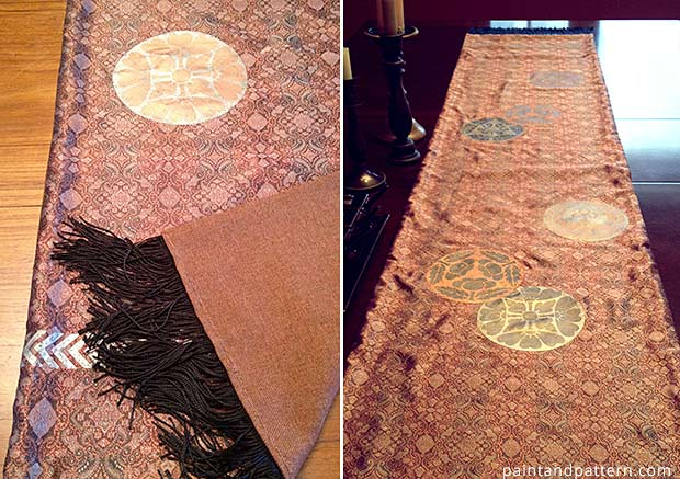How to stencil an opi-inspired table runner with Japanese stencils. via Paint+Pattern