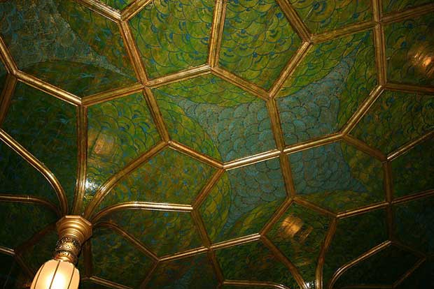 Gilded leather ceiling close-up in The Peacock Room | Paint + Pattern