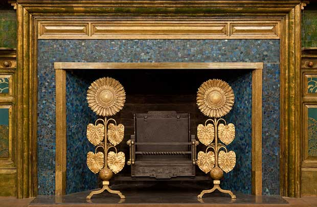 Gilded fireplace in The Peacock Room | Paint + Pattern