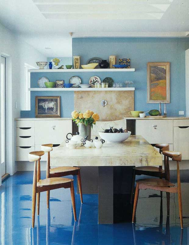 Turquoise-Blue-Lacquer-Flooring-Home-of-Chip-Bohl-in-Metropolitan-Home