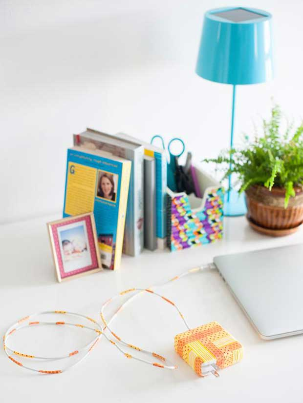 Washi Tape on Cords and Tech Essentials via Paint+Pattern