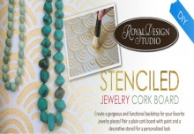 Stenciled DIY Jewelry Cork Board