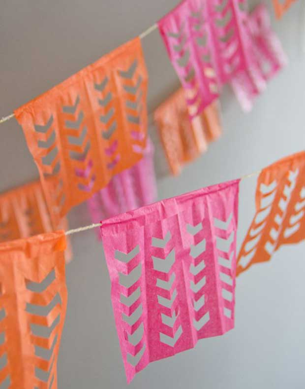 Cinco De Mayo Party Ideas for Papel Picado DIY via Paint + Pattern