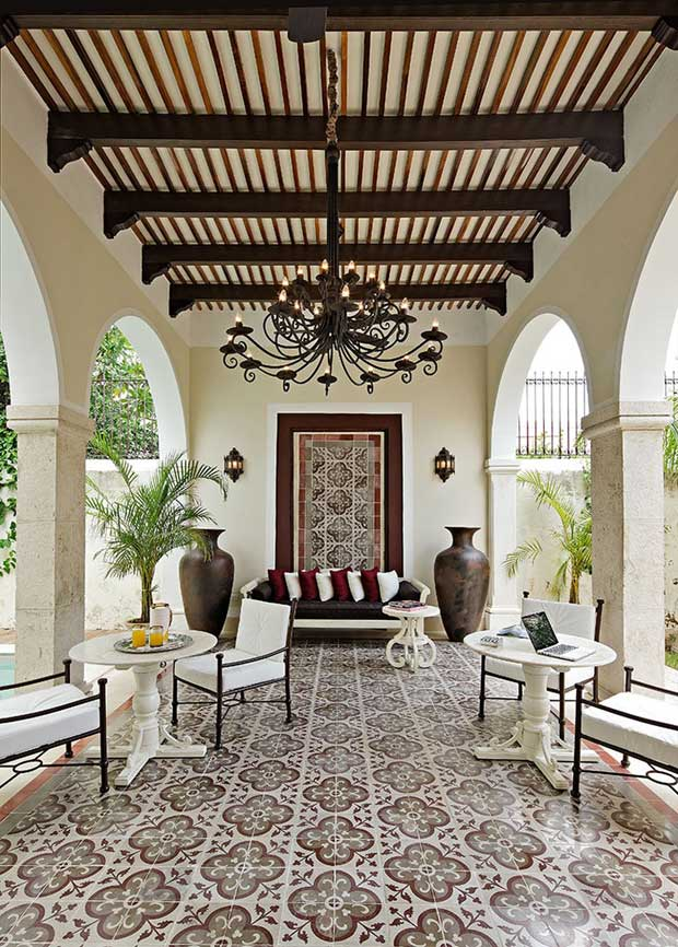 An exterior view of Hacienda Yucatan via Paint + Pattern
