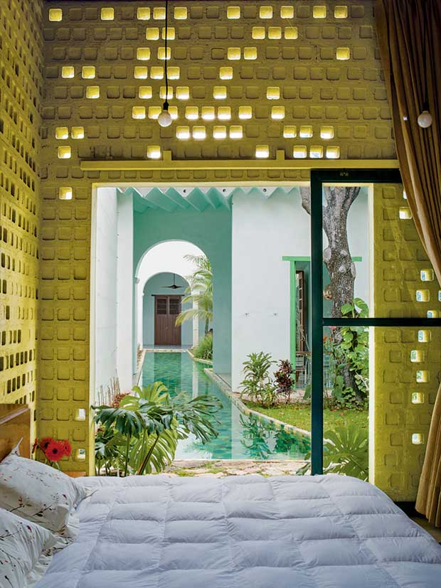 Room with a pool in a Hacienda in Mexico via Paint + Pattern