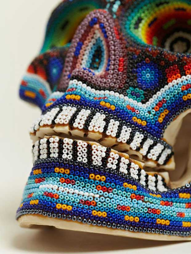 Beaded Huichol skull art | Paint + Pattern