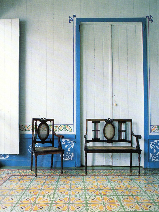 Tiles and native Indian motifs adorn the walls and floor of a residence in the city of Baracoa   Living in Cuba   Paint + Pattern