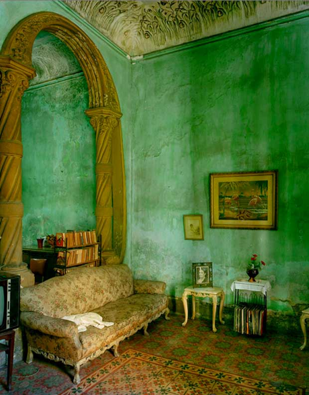Green Living Room in Havana photographed by Michael Eastman | Paint + Pattern