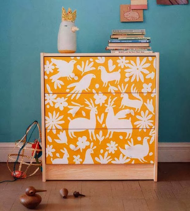 Contact Paper on the dresser front | Paint + Pattern