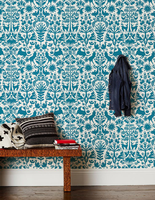 The oh so beautiful otomi textiles of mexico paint pattern - Turquoise wallpaper for walls ...