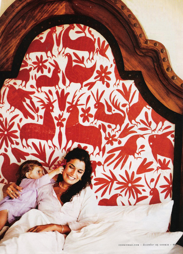 Headboard made out of Otomi Textiles   Paint + Pattern