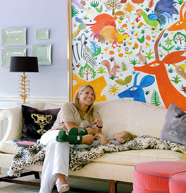Designer Liz Caan framed an Otomi-inspired Henri Maik canvas | Paint + Pattern