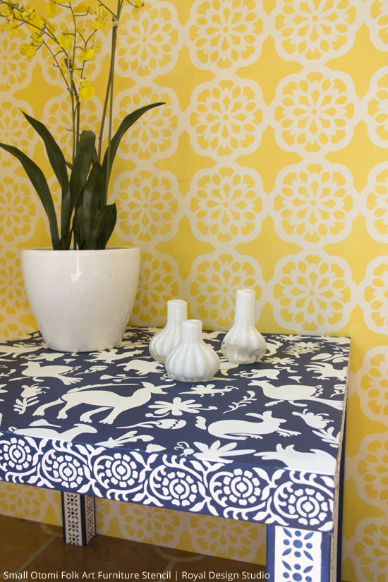 Otomi Stencil on Ikea Hack Table