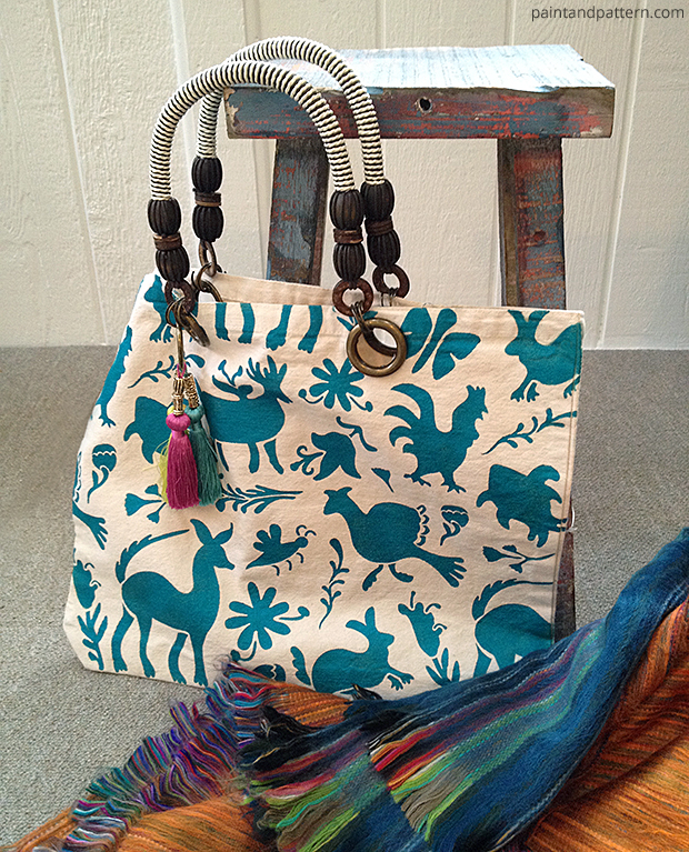 Peacock Fancy Otomi Tote Bag via Paint + Pattern