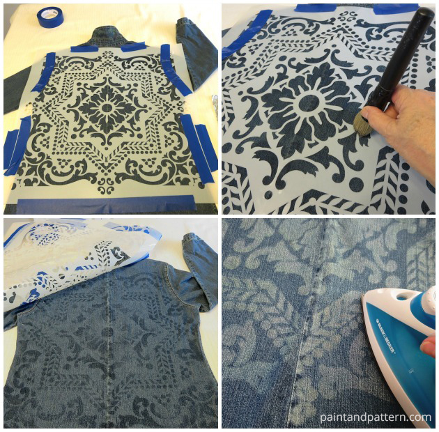 DIY Steps for stenciling an old denim jacket with Discharge Paste | Paint + Pattern