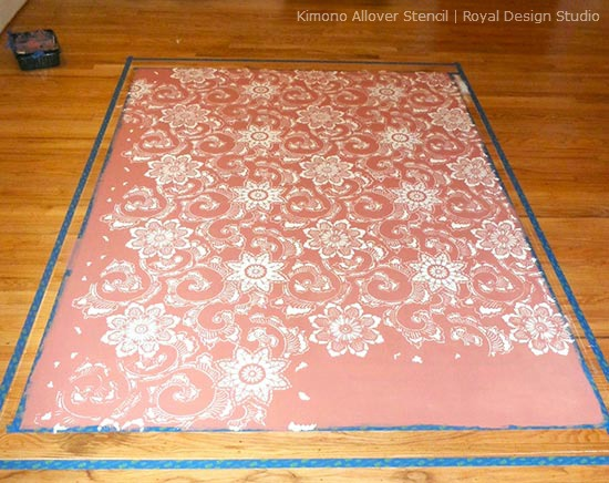 Stencil a Rug on Hardwood Floors | Kimono Allover Stencil by Royal Design Studio