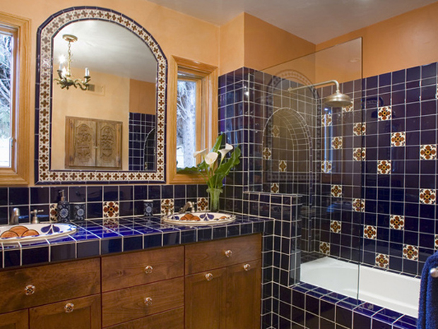 Shower cubicle lined with the beautiful Talavera Tiles | Paint + Pattern
