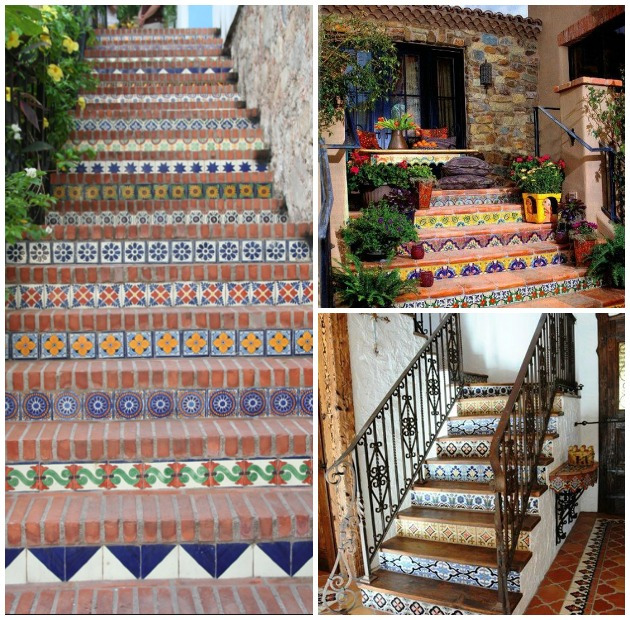 Staircase decorated with Talavera Tiles | Paint + Pattern