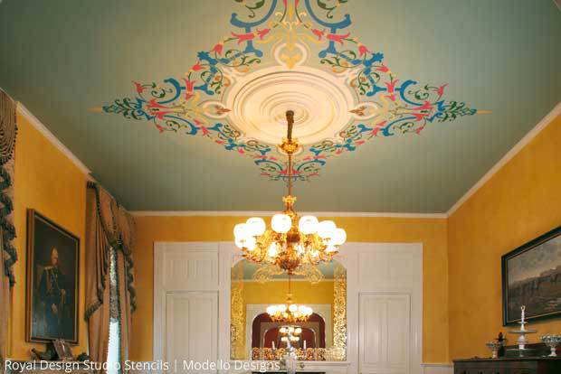 Modello Ceiling and Gilded Mirror Frame by Stenci Star Teri Taylor Roddi | Paint + Pattern