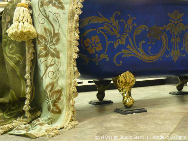 Painted tub and drapery by Stenci Star Teri Taylor Roddi | Paint + Pattern