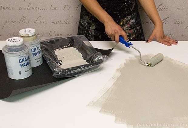 Grout base for a stenciled Talavera tile table via Paint + Pattern