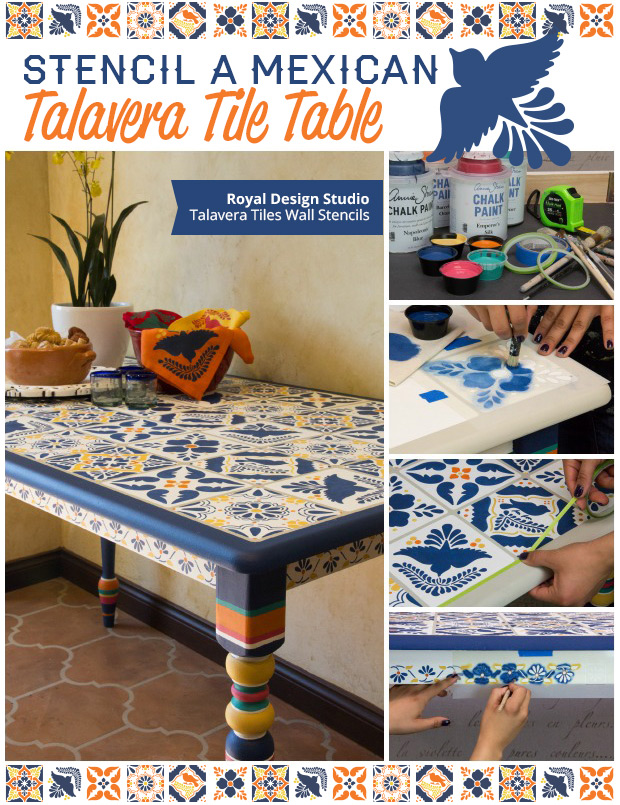 How to Stencil a Talavera Tile Table via Paint + Pattern