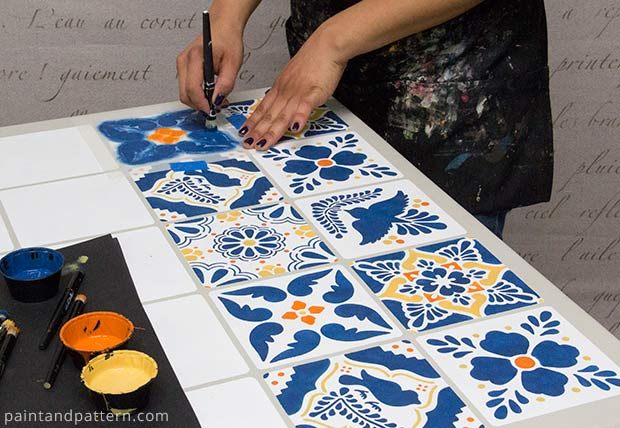 Stenciling with Talavera tile stencils via Paint + Pattern