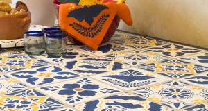 Stencil a Mexican Talavera Tile Table