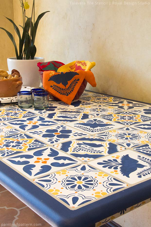 Stenciled Talavera tile table DIY via Paint + Pattern