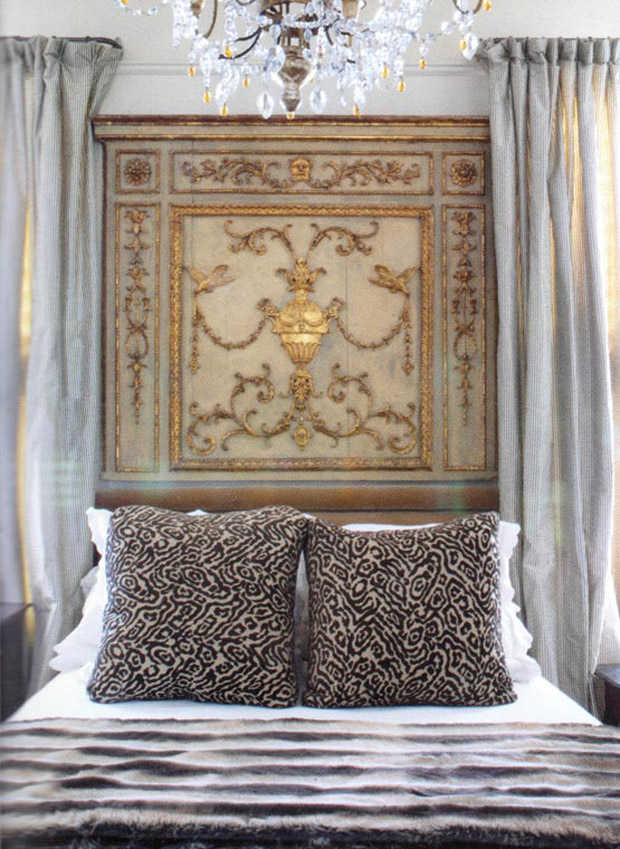 18th Century Gilt And Painted Door Panel As Headboard Via Paint Pattern