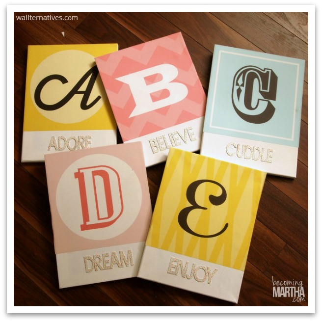 Colorful Woodblock Alphabets Fabric Decals by Wallternatives via Becoming Martha
