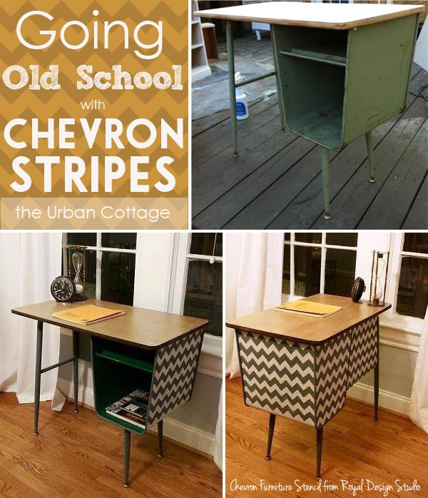 Chevron Stripes Furniture Stencil refurbishes a Mid-Century Metal Table | Paint + Pattern