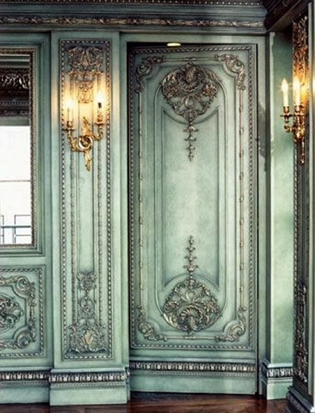 Colorwashed Boiserie via Paint + Pattern