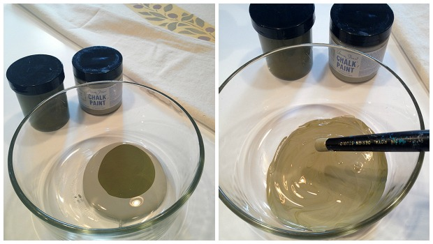 Diluting olive Chalk Paint to get a lighter shade via Paint + Pattern