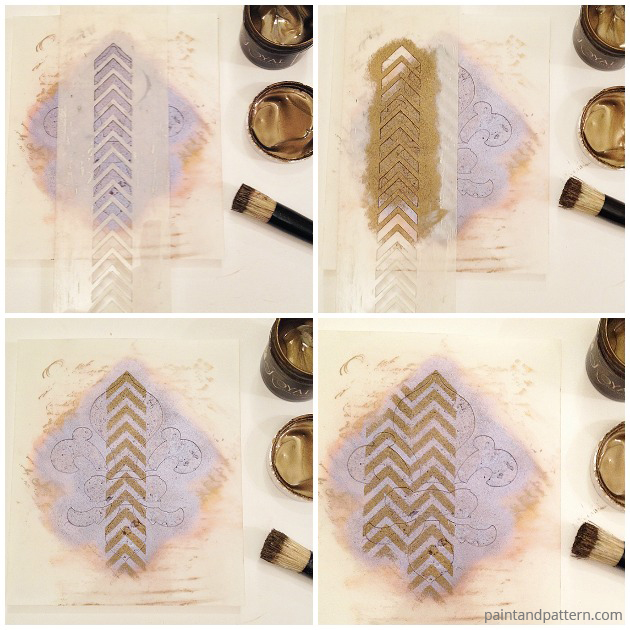 Fleur-De-Lis stenciled coaster DIY via Paint + Pattern