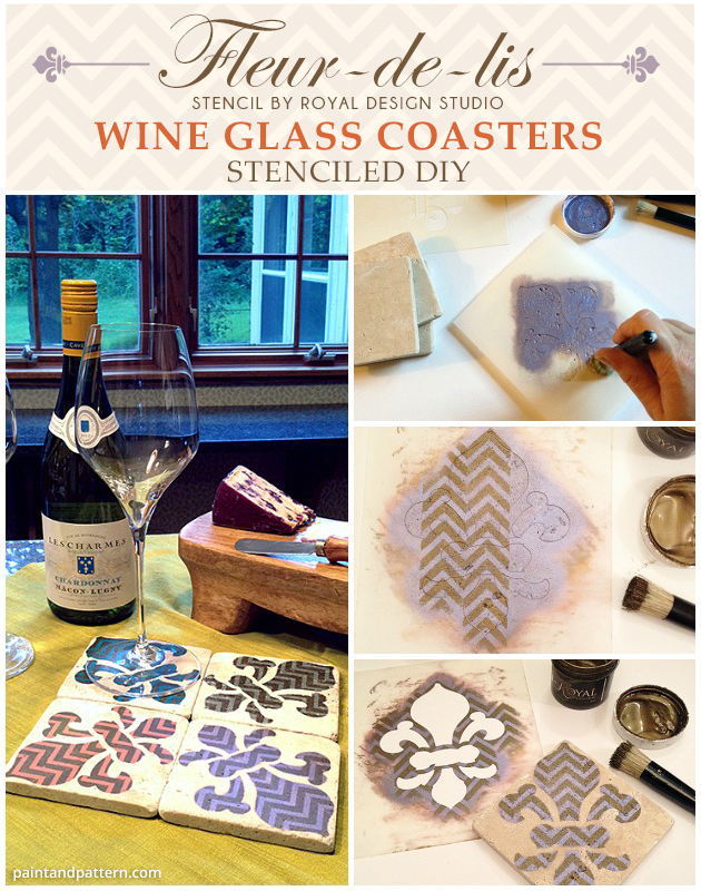 Fleur De Lis stenciled wine glass coasters | Paint + Pattern